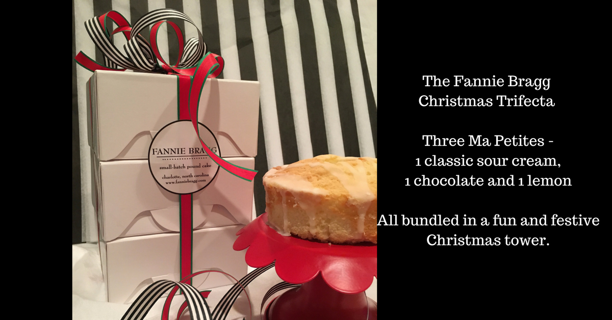 The Fannie Bragg Christmas Trifecta Three Ma Petites – 1 classic sour cream, 1 chocolate and 1 lemonAll packaged in a fun and festive Christmas tower.